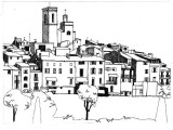 A Pen and Ink Drawing of a Small French Town