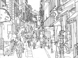 Pen and ink drawing of European city street