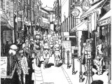 Pen and ink drawing of European city street with shadows
