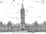 A Graphite Drawing of the Parliament Buildings in Ottawa with a little Gimp added