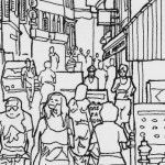 Pen and Ink Drawing of Street Scene